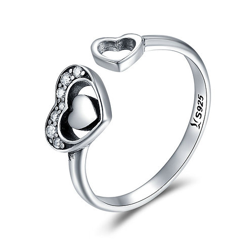 Halo Heart in Heart, Sterling Silver Open Ring