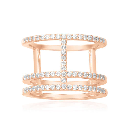 Pink Silver Tri-Layer Ring