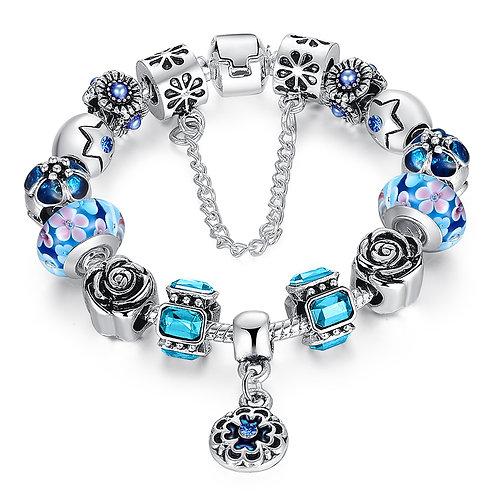 Aqua Blue Fancy Charm Bracelet