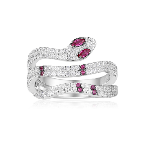 Silver Red Kaa Ring