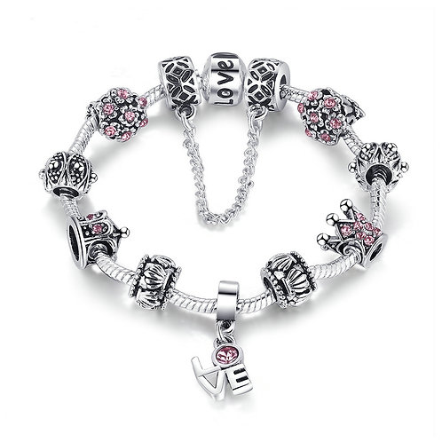 Sterling Love of King and Queen Charm Bracelet