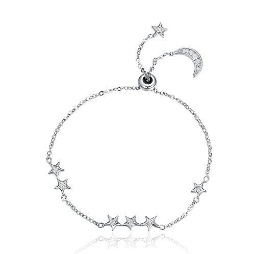 Sparkling Moon and Star Slider Bracelet
