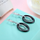 Thumbnail: Black Stone Sterling Hoop, Drop Earrings