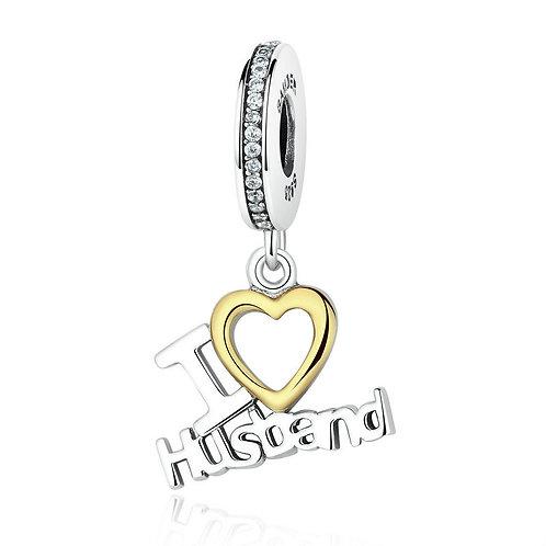 """I love my husband"" , Silver Pendant charm"