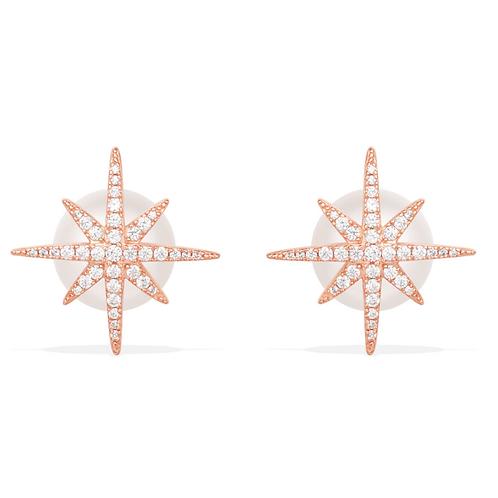 Meteorites Rose Stud Earrings With Pearls