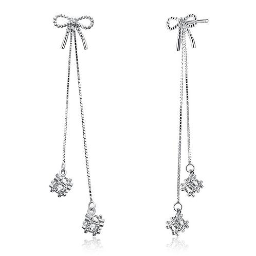 Silver Filigree Crystal Cube Threader Earrings
