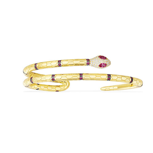 Yellow Silver Uraeus Bracele With Ruby