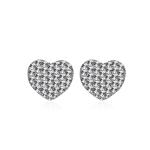 Halo Heart Sterling Silver Earring Studs