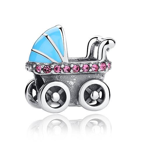 Baby Stroller, Silver Charm