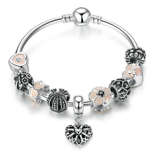 Royal Heart Dangle Charm Bracelet, Pink Heart and Daisy