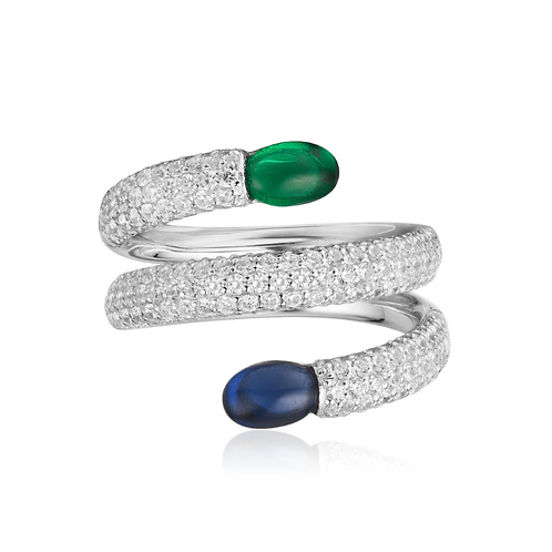 Navy And Green Bonbon Silver Spiral Ring