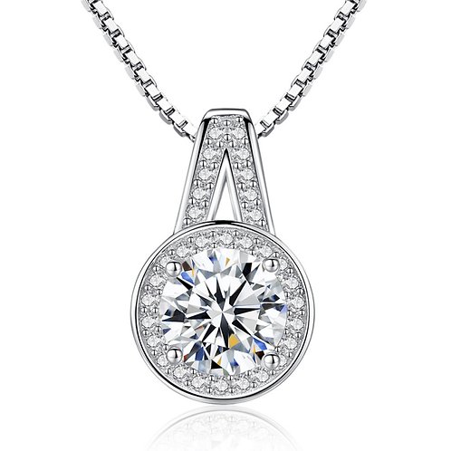 Elegance Round Halo Pendant, Platinum Plated, Clear CZ