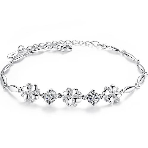 Dazzling Clovers 5mm Double Diamonds Sterling Silver Bracelets