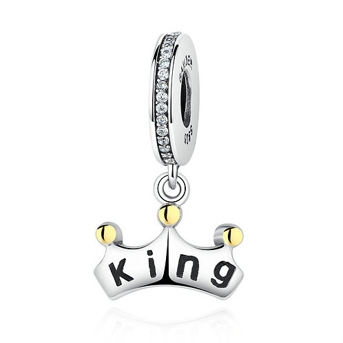 """""""You are my King"""" , Silver Pendant Charm"""