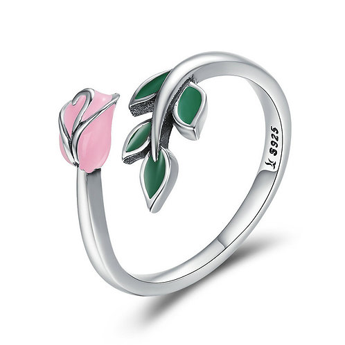 Pink Lively Rose Open Ring