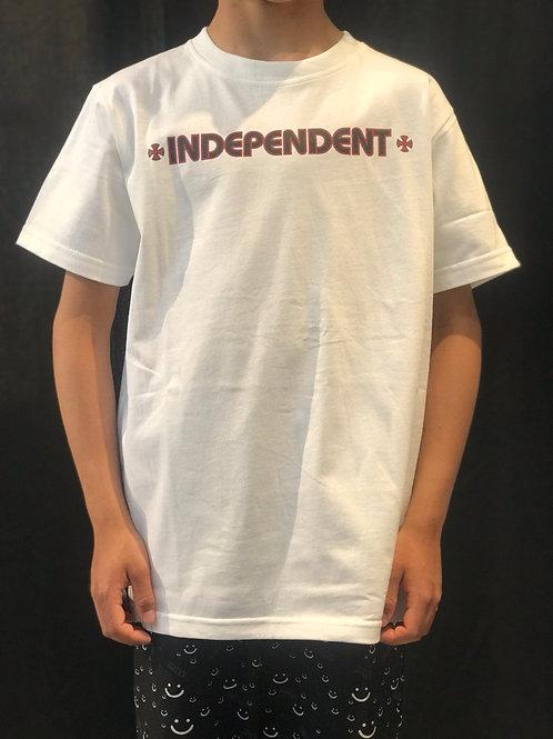 Independent Kids Bar Cross Tee White