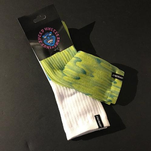 Santa Cruz Twin Pack Socks -white/blue & green