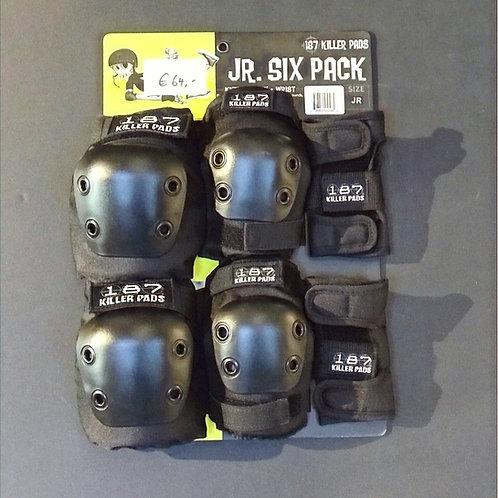 Junior 187 Killer Pads 6 Pack black