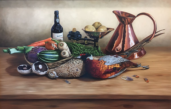 still life oil painting of game birds