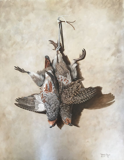 Still life painting, oil painting, partridge, brace of pratridge, english partridge, grey partridge.