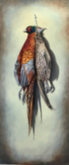 Still life painting, oil painting, brace of pheasants.