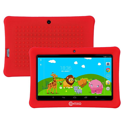 "Contixo K1 7"" Kids Tablet, Android 6.0 Dual Cameras Parental Controls (Red)"
