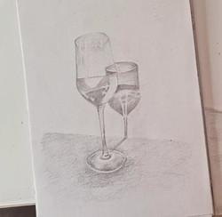 Бокал, карандаш. Автор_ Виктория