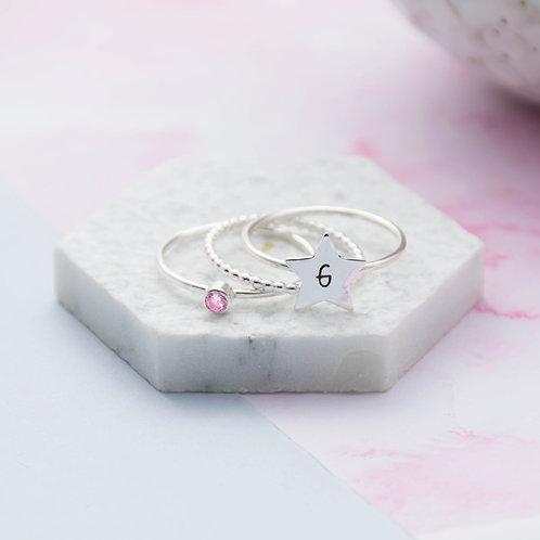 Star Initial Birthstone Ring Set