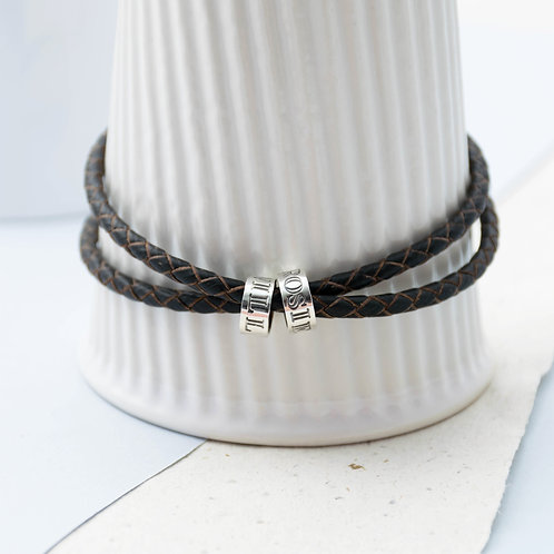 Men's Leather Story Bracelet
