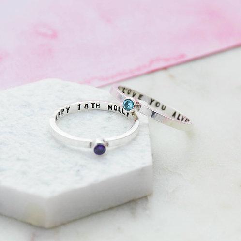 Birthstone Message Ring
