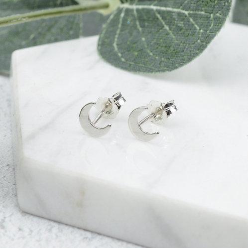 Tiny Moon Stud Earrings