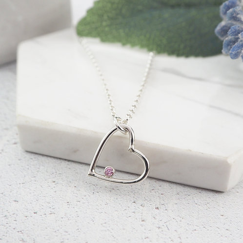 Open Heart Birthstone Necklace