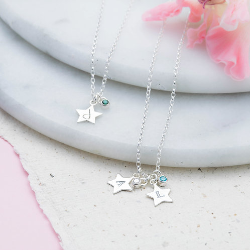 Mini Star and Birthstone Necklace