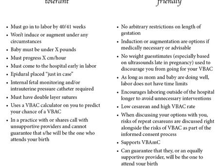 Vaginal Birth after a Cesarean (VBAC, VBA2C, VBAMC)
