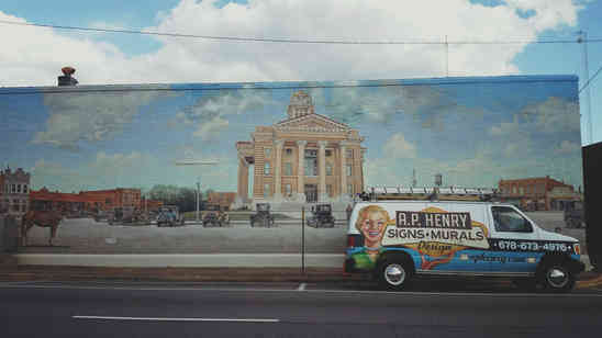 Thomaston mural repaired - originally painted by Shannon Lake