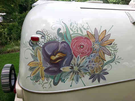 Hand painted art on an Airstream camper trailer
