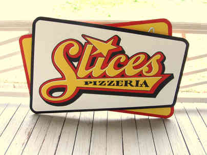 Hand painted sign for a pizzeria in Locust Grove, GA