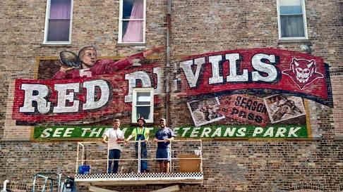 Hand painted mural in Delavan, Wisconsin