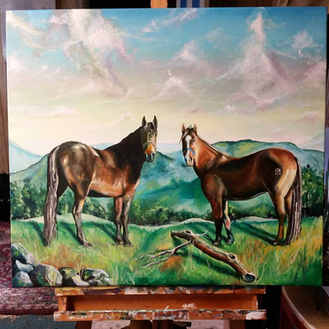 """""""Two to Tango"""" Latex on canvas.  Here are two horses commissioned by their owner"""
