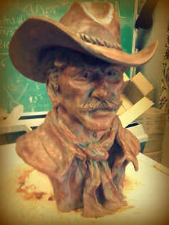 """""""Weathered Cowpoke""""  Terracotta with oil paint patina - currently in a private collection"""