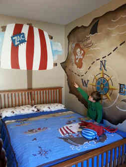 Hand painted bedroom mural for Zac