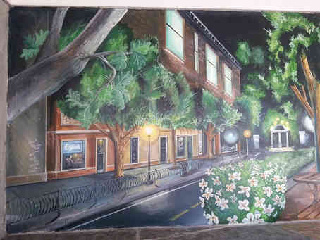 Hand painted mural of Athens, Georgia for a home in Reynolds Plantation