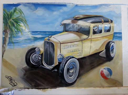 """""""Beach Cruise""""  Oil enamels on metal panel"""