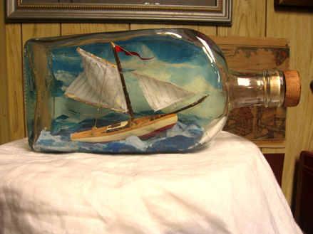 """""""Message in a Bottle"""" Handmade ship in a bottle"""