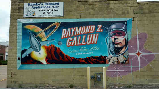 A hand painted mural highlighting local history in Beaver Dam, Wisconsin