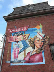 Hand painted mural highlighting local history in Butler, Pennsylvania completed with the help of Kelley Bell, Bart McCune, Gingerlee Lovelady, Scott Lindley, and other artists