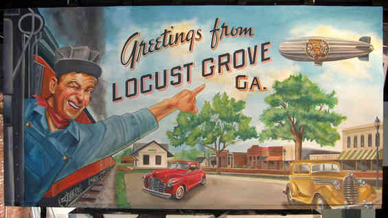 Hand painted mural for Lovin' Oven Pizzeria (Slices Pizza at that time) in Locust Grove, GA