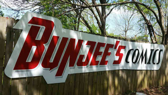 Hand painted sign for Bunjee's Comics in Griffin, GA