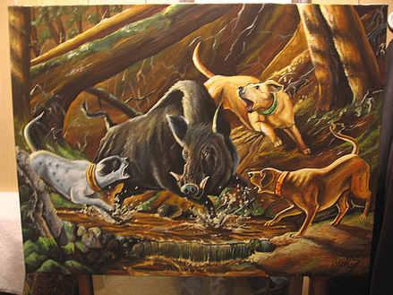 """""""Cornered""""  Latex on canvas"""