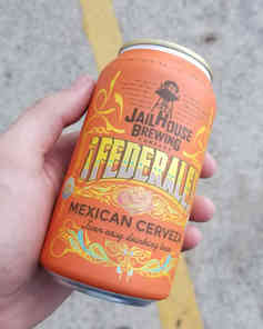 A custom graphic design for a beer can and the folks at Jail House Brewing